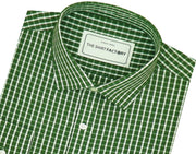 Men's Casual Check Shirt - Green Check (0322) - Theshirtfactory
