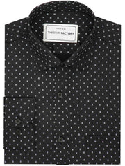 Men's Casual Printed Cotton Shirt - Black (0578) - Theshirtfactory