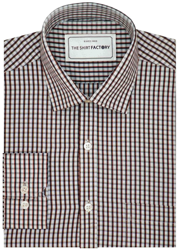 Men's Cotton Blend Check Shirt - Brown (0382) - Theshirtfactory