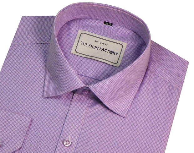 Men's Cotton Blend Micro Check Shirt - Light Purple (0387) - Theshirtfactory