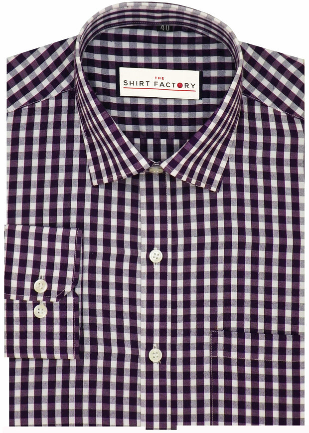 Men's Cotton Blend Shirt - Red Check (0269) - Theshirtfactory