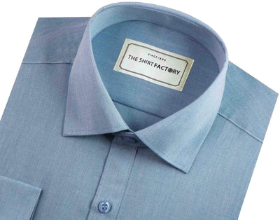 Men's Formal Cotton Blend Plain Shirt - Sky Blue (0027) - Theshirtfactory
