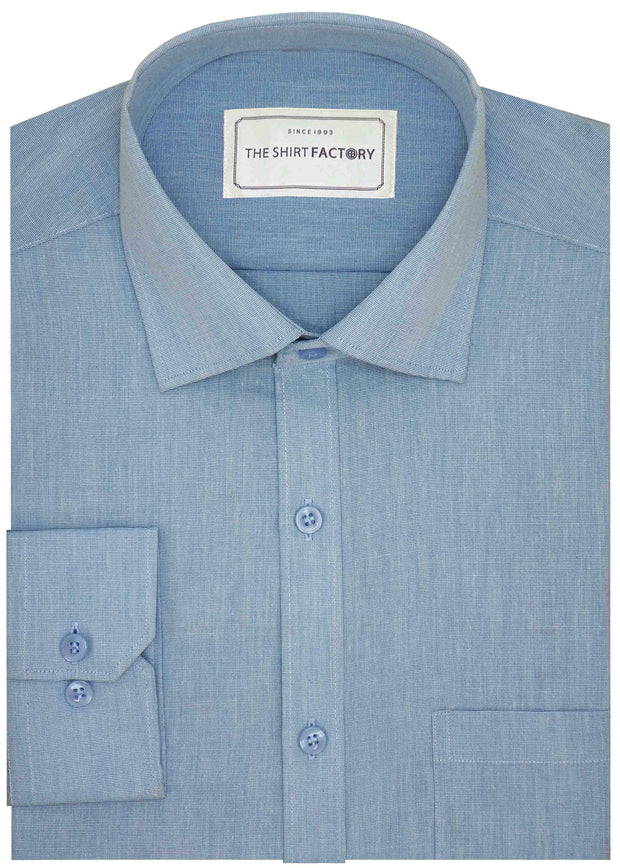 Men's Formal Cotton Blend Plain Shirt - Sky Blue (0027)