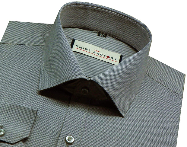 Men's Formal Cotton Blend Shirt - Grey Pin Check - (0086) - Theshirtfactory