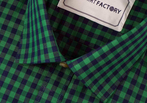 Men's Premium Cotton Check Shirt - Green (0452) - Theshirtfactory