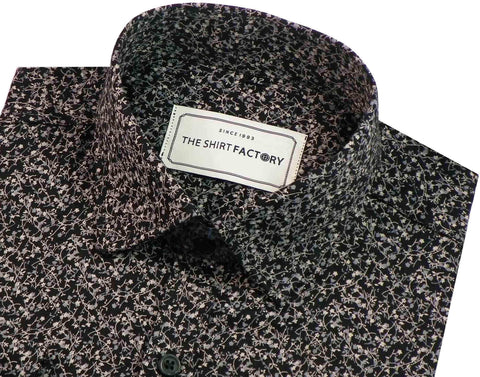 Men's Premium Cotton Printed Shirt - Black (0332) - Theshirtfactory