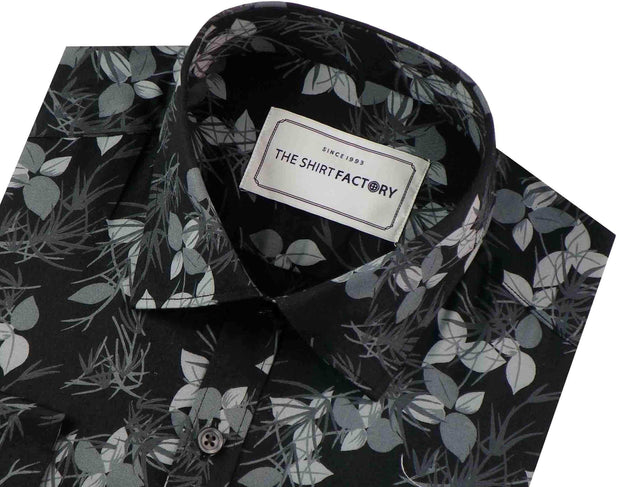 Men's Premium Cotton Satin Printed Shirt - Black (0575) - Theshirtfactory