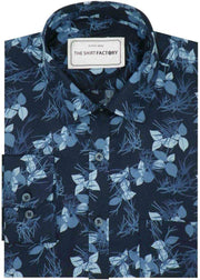 Men's Premium Cotton Satin Printed Shirt - Blue (0573) - Theshirtfactory