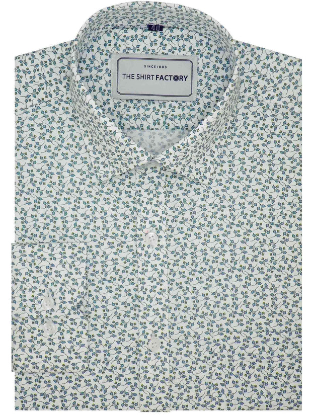 Men's Premium Cotton Satin Printed Shirt - White (0588) - Theshirtfactory