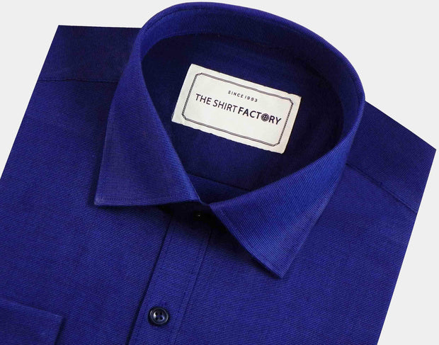 Men's Premium Giza Cotton Plain Shirt - Navy Blue (0307) - Theshirtfactory