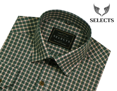 Selects Premium Cotton Check Shirt - Green Check (0247) - Theshirtfactory