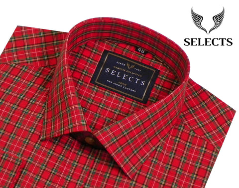 Selects Premium Cotton Check Shirt - Red Check (0244) - Theshirtfactory