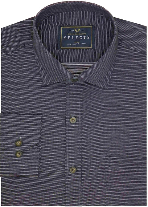 Selects Premium Cotton Dobby Spotted  Shirt - Solid Black (0252) - Theshirtfactory