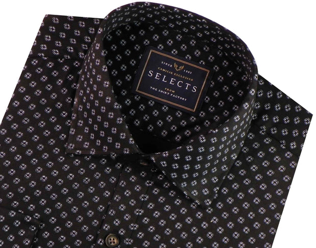 Selects Premium Cotton Satin Printed Shirt - Black (0415) - Theshirtfactory