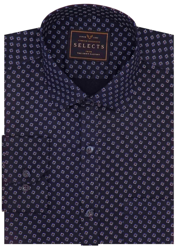 Selects Premium Cotton Satin Printed Shirt - Navy (0413) - Theshirtfactory