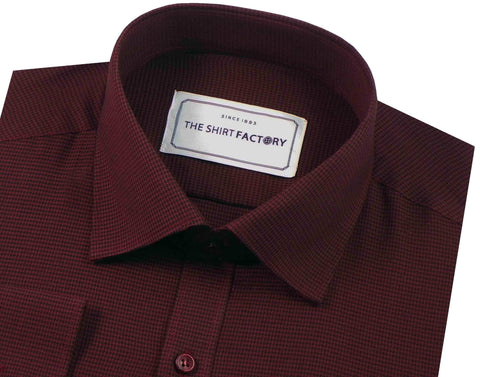 Men's 100% Cotton Houndstooth Pin Check Shirt - Deep Red (0321) - Theshirtfactory