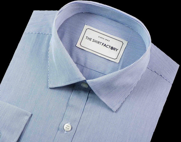 Men's 100% Cotton Stripes Shirt - Light Blue (0169) - Theshirtfactory