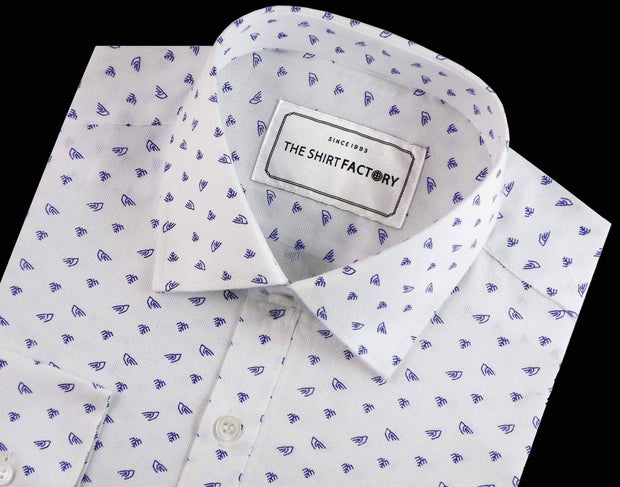 Men's 100% Giza Cotton Printed Shirt - White (0216) - Theshirtfactory