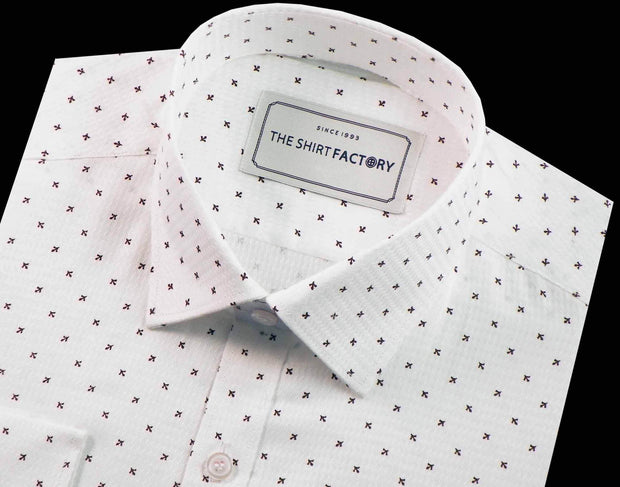 Men's Premium Cotton Dobby Printed Shirt - White (0236) - Theshirtfactory