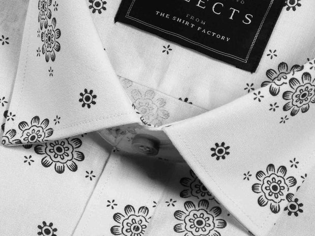 Selects Linen Cotton Blended Printed Shirt - White (0563) - Theshirtfactory
