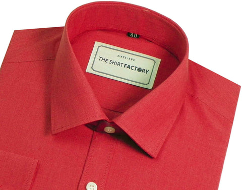 Men's 100% Cotton Plain Shirt - Light Red (0471) - Theshirtfactory