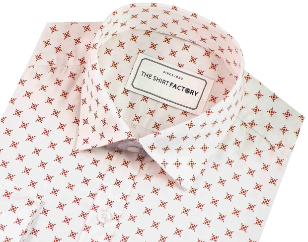 Men's Casual Printed Cotton Satin Shirt - White (0589) - Theshirtfactory
