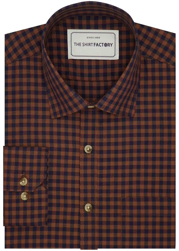 Men's Premium Cotton Check Shirt - Brown (0453) - Theshirtfactory