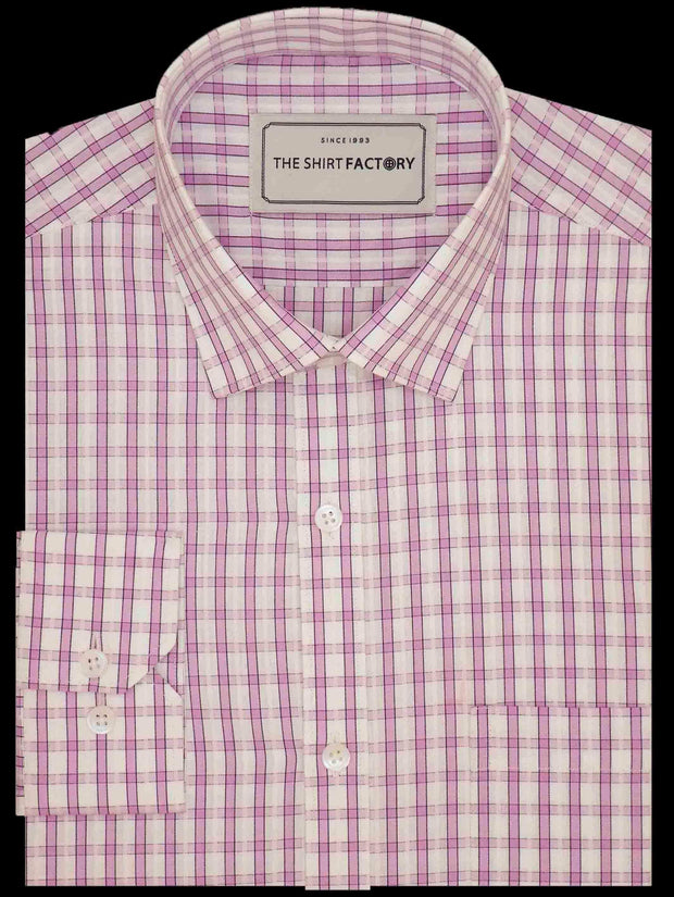 Men's Premium Cotton Check Shirt - Pink (0449) - Theshirtfactory