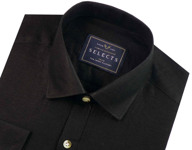Selects Linen Cotton Blended Plain Shirt - Black (0489) - Theshirtfactory