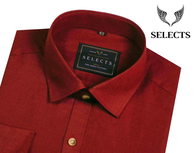 Selects Linen Cotton Blended Plain Shirt - Red (0490) - Theshirtfactory