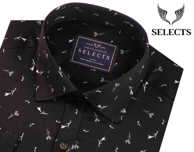 Selects Premium Cotton Dobby Printed Shirt - Black (0368) - Theshirtfactory