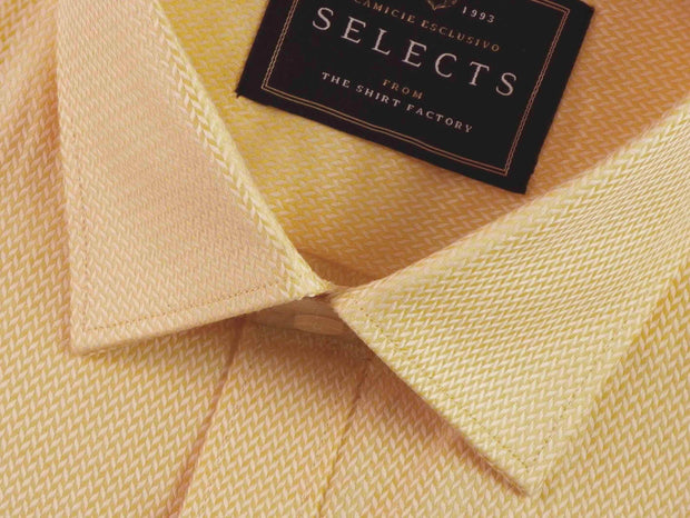Selects Premium Cotton Dobby Shirt - Yellow (0438) - Theshirtfactory
