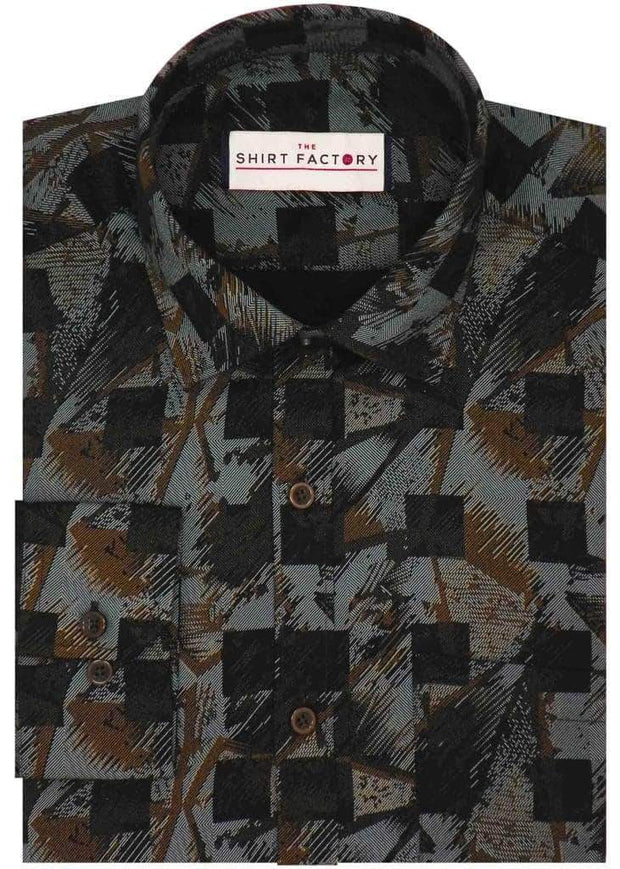 Men's 100% Cotton Satin Printed Shirt - Multicolor (0264) - Theshirtfactory
