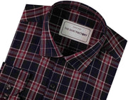 Men's Cotton Melange Twill Check Shirt - Navy Blue (0671) - Theshirtfactory
