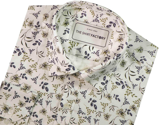 Men's 100% Cotton Printed Shirt - Off-White (0418) - Theshirtfactory