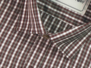 Men's Cotton Blend Check Shirt - Maroon (0643) - Theshirtfactory