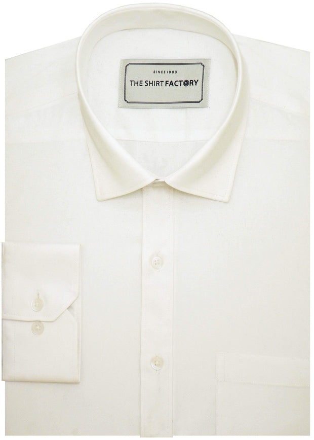 Men's Cotton Blend Plain Dobby Shirt - White (0761) - Theshirtfactory