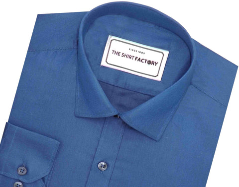 Men's Cotton Blend Plain Shirt - Blue (0771) - Theshirtfactory