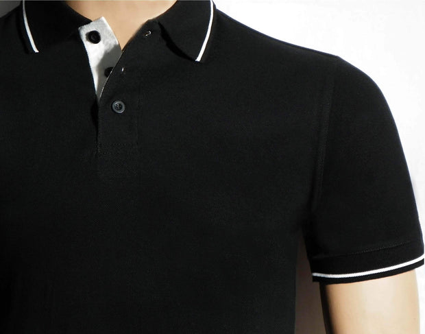 Men's Polo Collar Stripe Tipped Black T-Shirt - Theshirtfactory