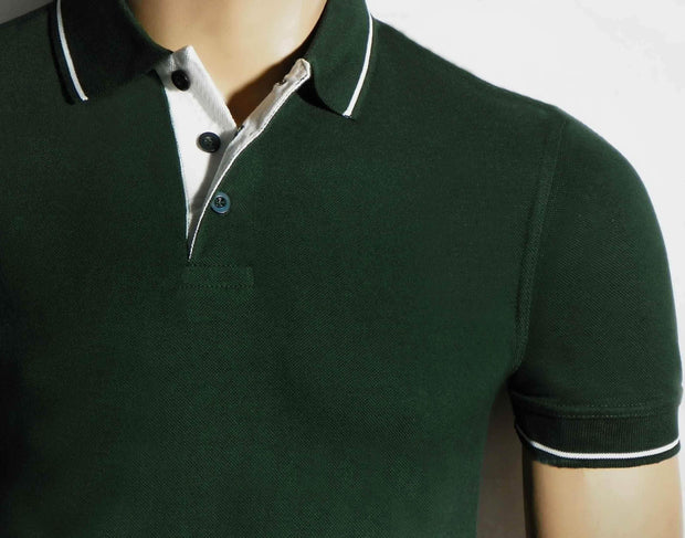 Men's Polo Collar Stripe Tipped Bottle Green T-Shirt - Theshirtfactory