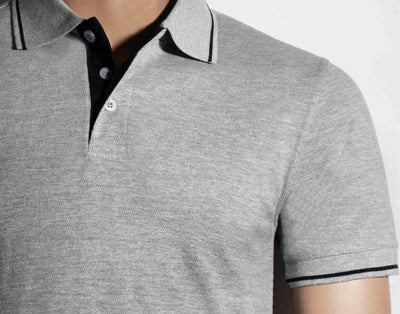 Men's Polo Collar Stripe Tipped Grey Melange T-Shirt - Theshirtfactory