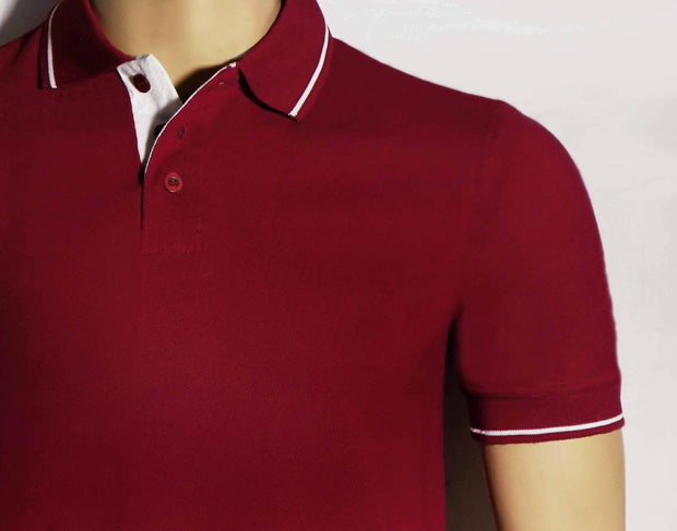 Men's Polo Collar Stripe Tipped Maroon T-Shirt - Theshirtfactory
