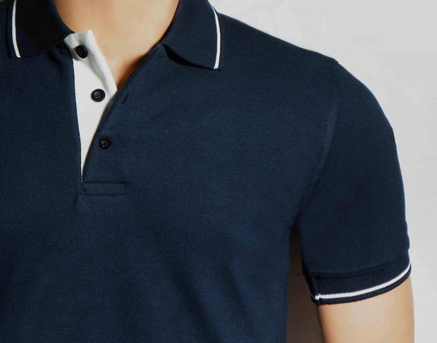 Men's Polo Collar Stripe Tipped Navy Blue T-Shirt - Theshirtfactory