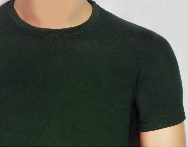Men's Round Neck Plain Bottle Green T-Shirt - Theshirtfactory