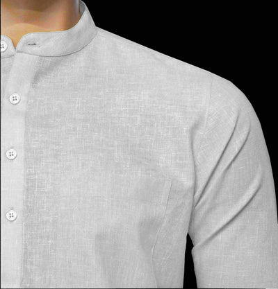 Men's Cotton Blend Plain Short Kurta Full Sleeves/Half Sleeves - White (KUR-0964) - Theshirtfactory