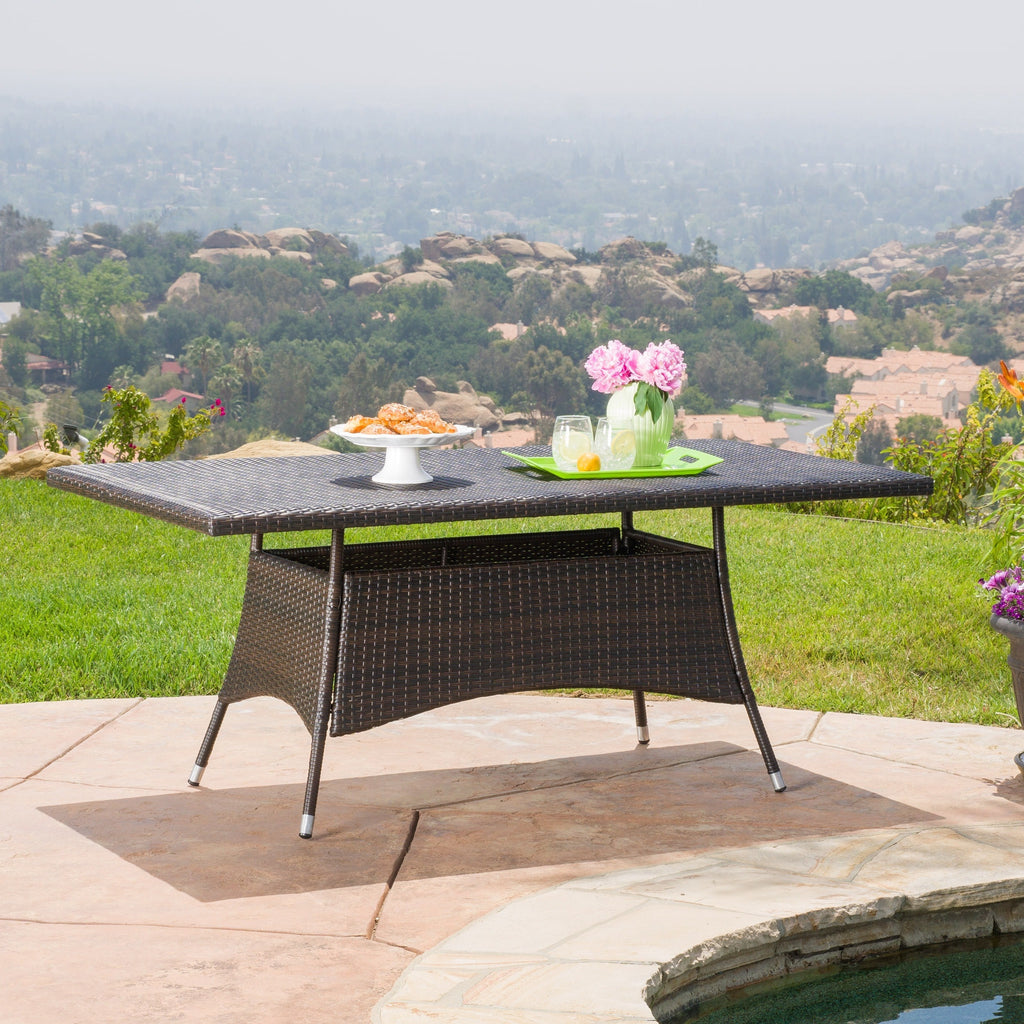 corsica outdoor wicker rectangle dining table only by christopher knight home