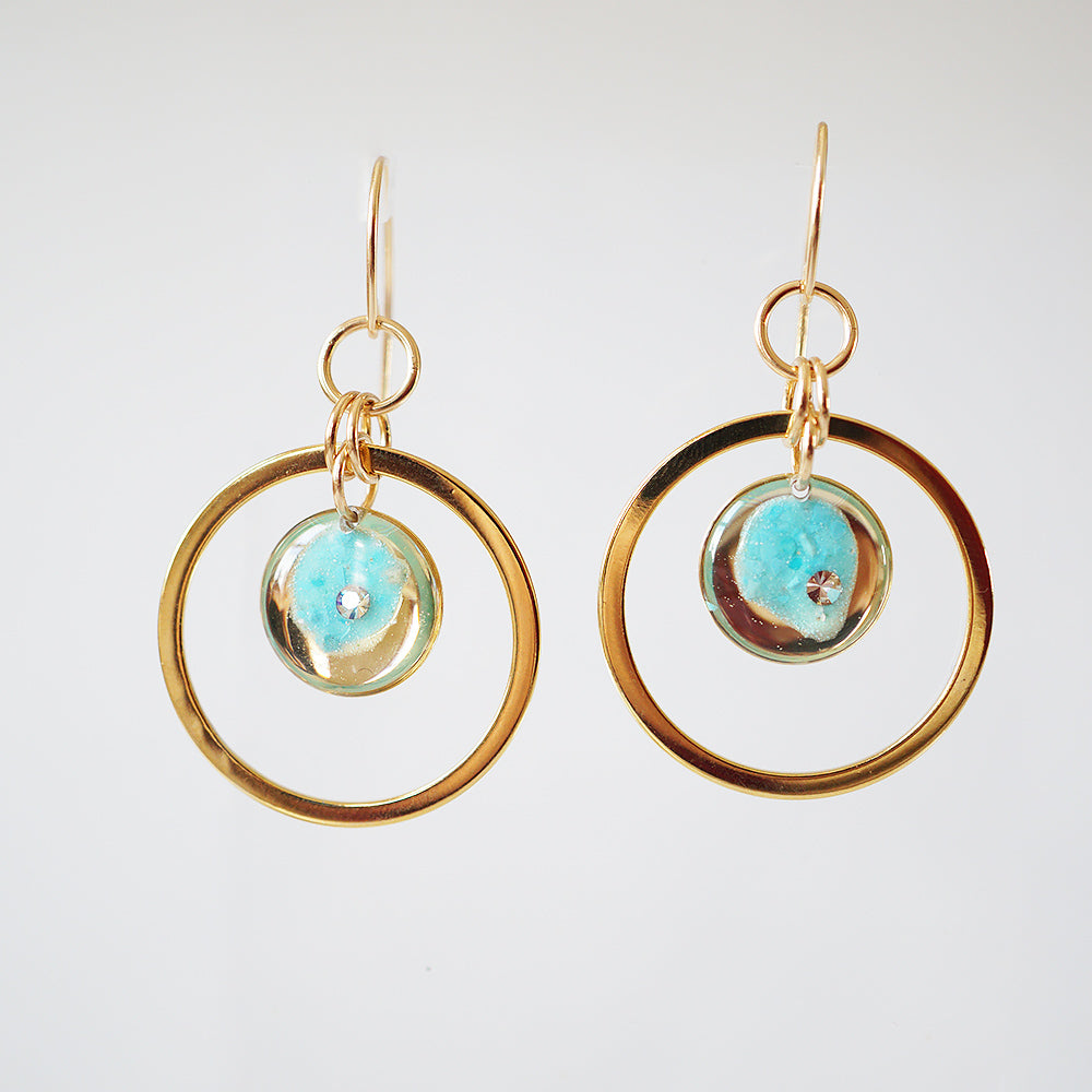 Load image into Gallery viewer, Dangling Blue Orbit Earrings