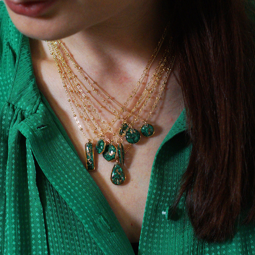 Load image into Gallery viewer, Geometric Malachite Necklace
