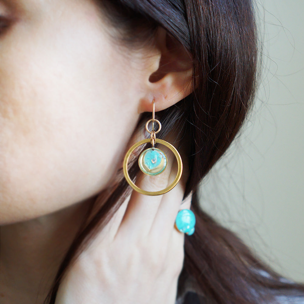 Dangling Blue Orbit Earrings