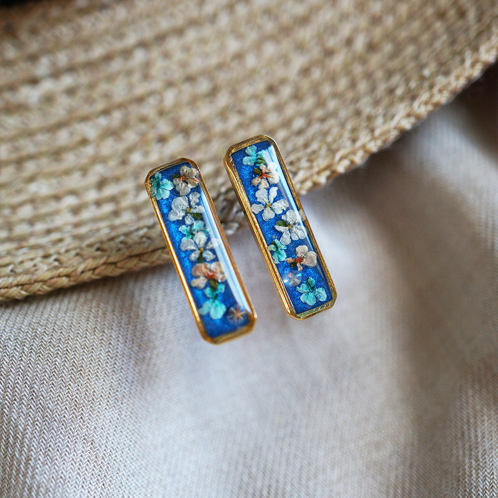 Blue Flower Long Bar Earrings